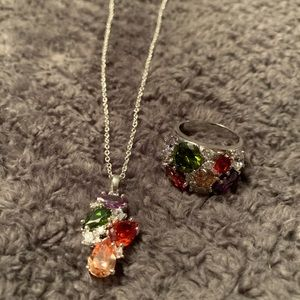 Necklace & Ring set, silver and multicolor stones